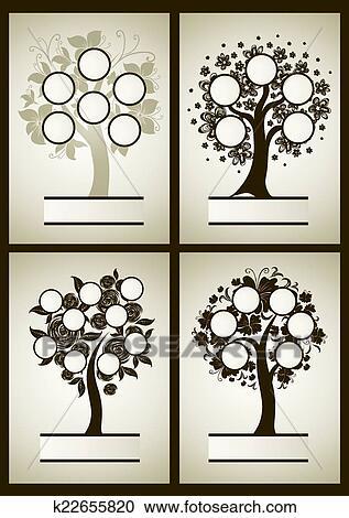Clipart - vector, conjunto, de, árbol genealógico, diseños k22655820 ...