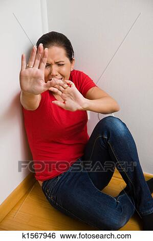 Stock Images Of Anxious Woman Symbol Of Violence In The Family