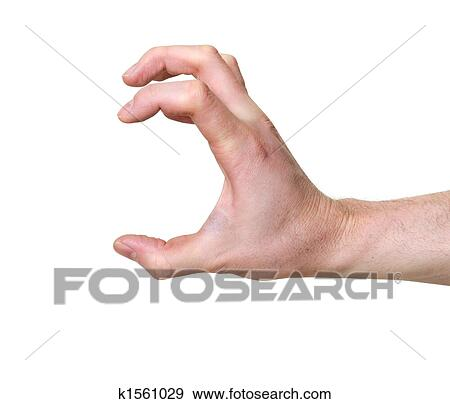 stock photograph of hand in grabbing position isolated over white