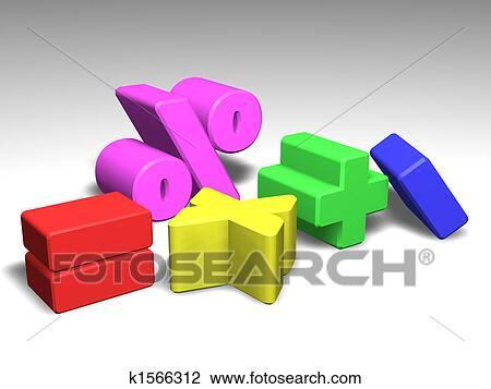 Clip Art Of Illustration Of Math Symbols K1566312 Search Clipart