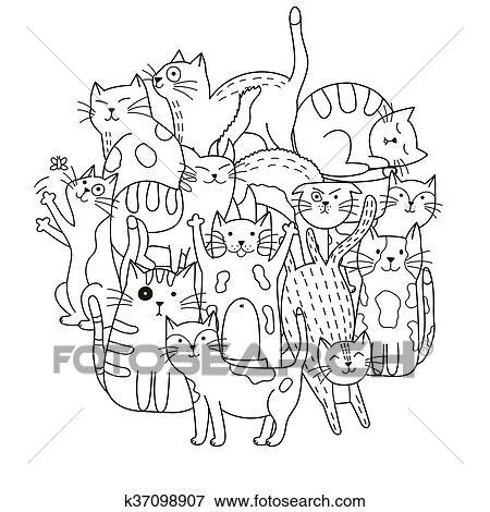 Kreis Form Muster Mit Niedlich Katzen Für Ausmalbilder Clip Art