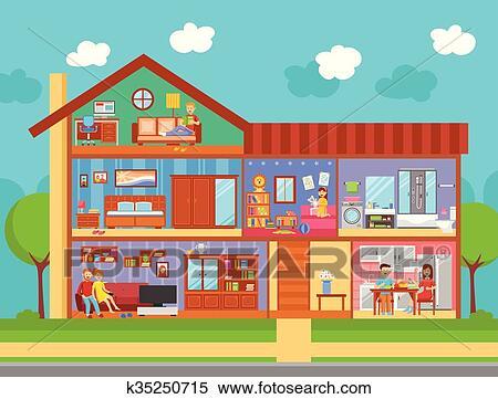 Clipart maison famille conception int rieur concept k35250715 recherchez des clip arts - Dessin d interieur de maison ...