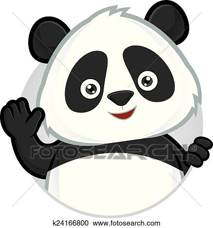 clipart of panda waving k24166800 search clip art