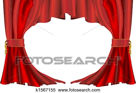 Red Theatre Style Curtains Clipart K1567155 Fotosearch