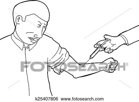 Clip Art Of Scared Man Getting Vaccinated K25407806