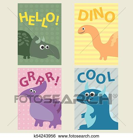 Set Of 4 Cards Templates With Dinosaurs For Birthday