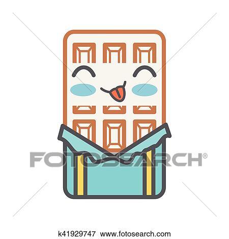 Tavoletta Di Cioccolato Disegno.Tavoletta Di Cioccolato Kawaii Stile Isolato Icona Clip Art