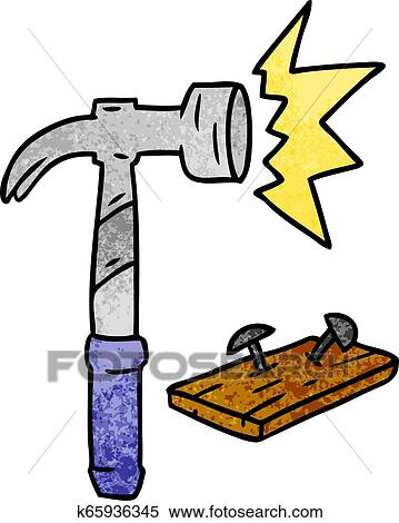 Textured cartoon doodle of a hammer and nails Clipart