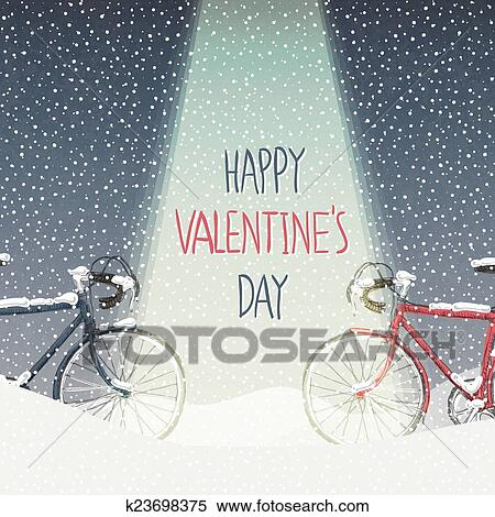 Clipart Of Valentines Card Snow Covered Bicycles Calm Winter Scene