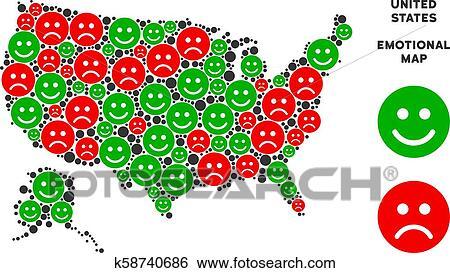 Vector Happiness USA With Alaska Map Composition of Emojis ...
