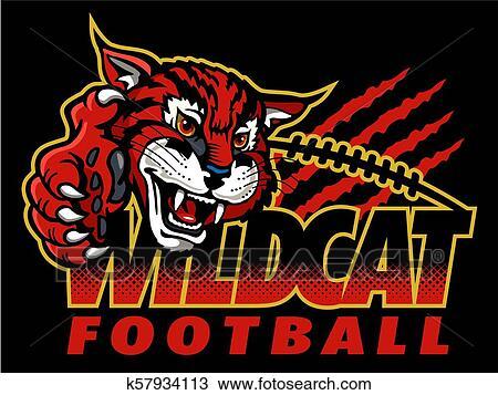 Football Wildcat Mascot - Vector Clipart Wildcat