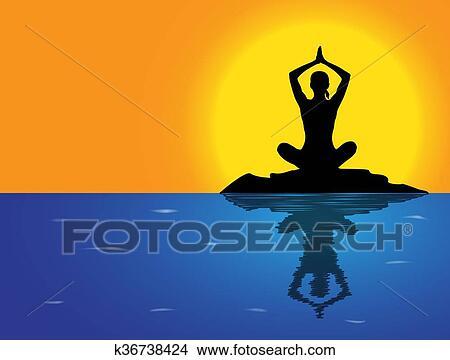 yoga arms overhead lotus pose sea background clipart