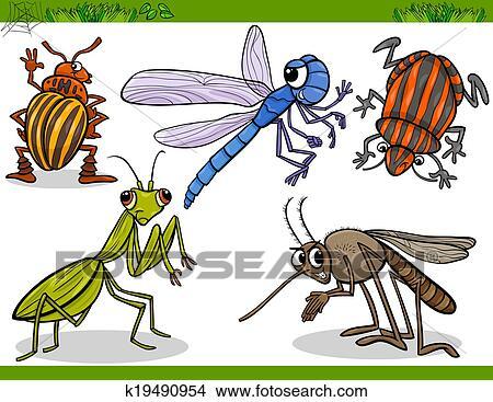 幸せ 昆虫 セット 漫画 イラスト クリップアート切り張り