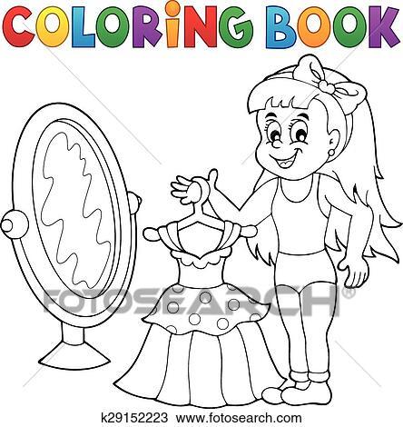 Ausmalbilder Mädchen Mit Kleid Thema Clipart