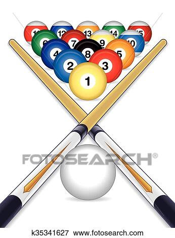 Billiards Balls With Cue Sticks Clip Art K35341627