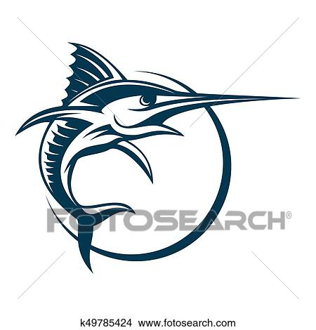 drawings of blue marlin vector sign vector fishing logo catching