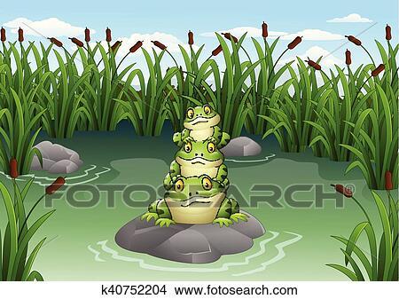 Cartone animato rana accatastato in il stagno clipart