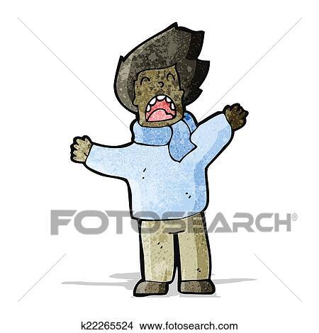 Cartoon Man In Windy Weather Clipart K22265524 Fotosearch