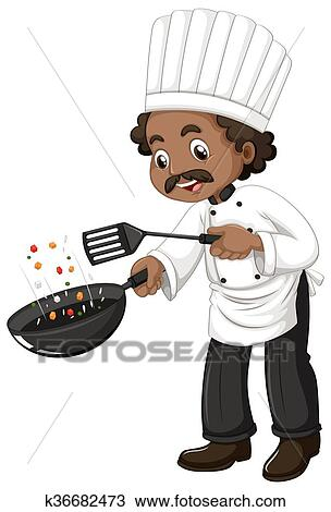 Clipart Of Chef Cooking With Frying Pan And Spatula