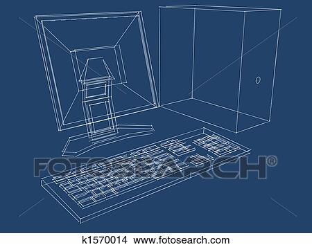 Drawings of computer plans blueprint k1570014 search clip art blueprint of a computer lcd monitor and keyboard in three dimensions malvernweather Images