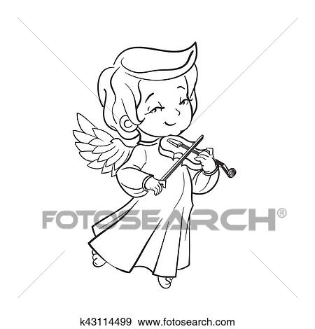 Clip Art Of Cute Baby Angel Making Music Playing Violin K43114499