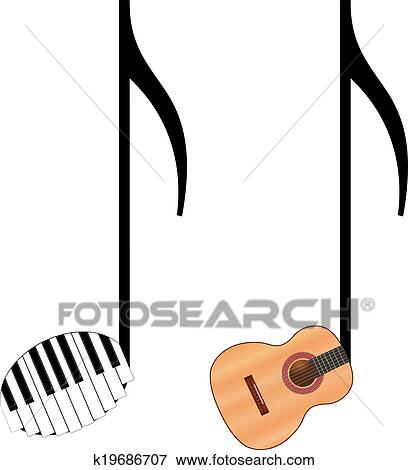 Funny music notes Clip Art