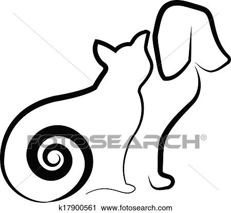 Gatto E Cane Stilizzato Silhouette Clipart K17900561 Fotosearch