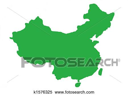 Stock Illustration of Green outline map of China k1576325 - Search ...