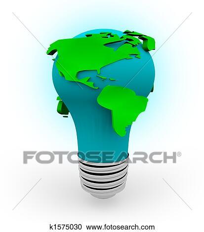 La Terre Ampoule Fond Blanc Clipart
