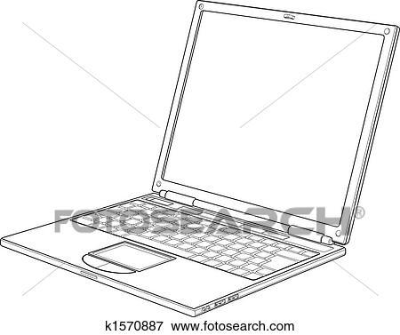 clip art of laptop outline vector illustration k1570887 search