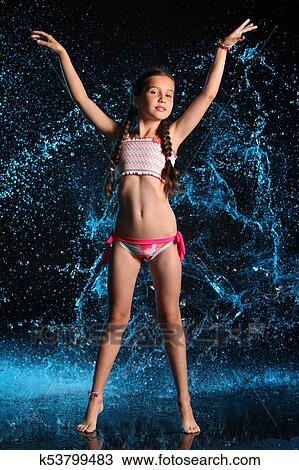 Stock Photo Of Lovely Slender Preteen Girl In A Bikini