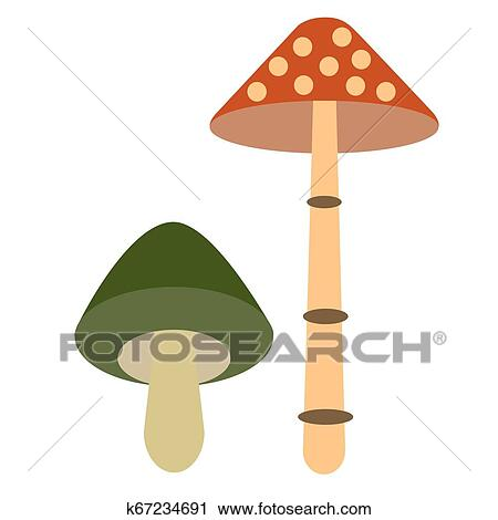 Mushroom Color Simple Illustration Clipart K67234691 Fotosearch
