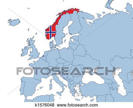 Norwegen Auf Europa Landkarte Stock Illustration K1576048