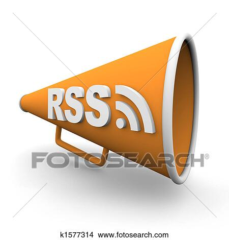 Drawings of rss logo on bullhorn k1577314 search clip art a orange bullhorn or megaphone with the word rss on it on white background publicscrutiny Gallery