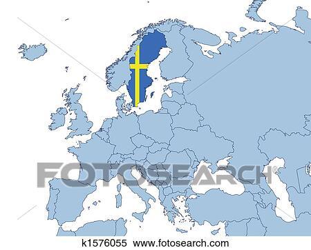 Sweden on Europe map Stock Illustration | k1576055 | Fotosearch