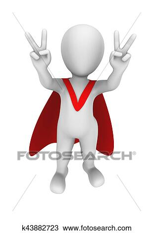 3d superhero with red cape  Drawing
