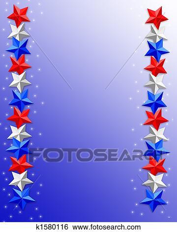 Patriotic Christmas Background.4th Of July Patriotic Border Stars Stock Illustration