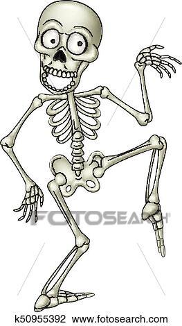 Clipart dessin anim rigolote squelette humain danse - Dessin de squelette ...