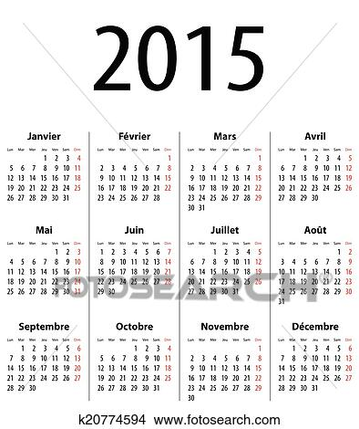 Clipart Of French Solid Calendar Grid For 2015 K20774594 Search