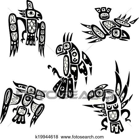 b4863c7283b19 Native indian shoshone tribal drawings. Birds Clip Art | k19944618 ...