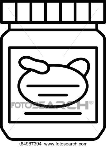 Peanut Butter Jar with label Clipart Image