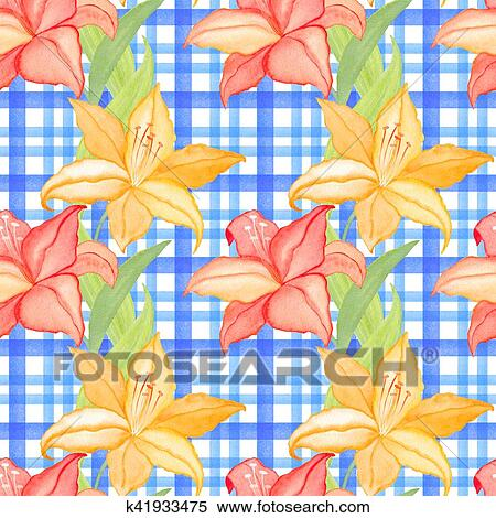 lilly flowers on checkered background