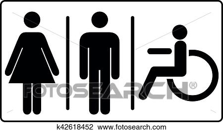 Vettore Mens E Womens Invalido Bagno Signage Set Uomini