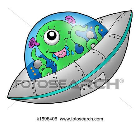 かわいい 外国人 中に 宇宙船 イラスト K1598406 Fotosearch