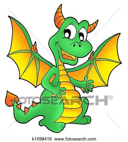 かわいい 緑の竜 イラスト K1598416 Fotosearch