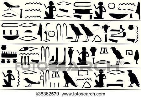 クリップアート , エジプト人, 象形文字, seamless, パターン. Fotosearch , クリップ
