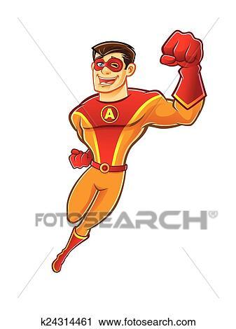 ハンサム Superhero 飛行 クリップアート切り張りイラスト絵画