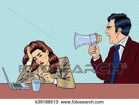 Capo Ufficio Disegno : Clipart arrabbiato capo grida in megafono su il donna in