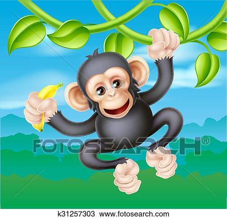 Cartone animato scimpanzé con banana clipart k31257303 fotosearch
