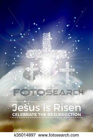 clip art of he is risen vector easter religious poster template